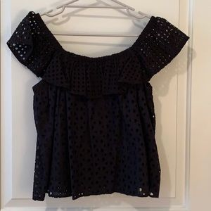 Rebecca Minkoff Black eyelet off the shoulder top